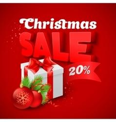 Christmas Sale with gift box vector image