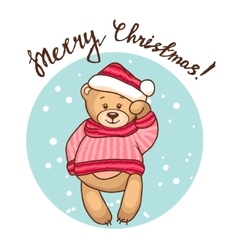greeting card with teddy vector image