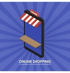 The concept isometric telephone store shopping vector image vector image
