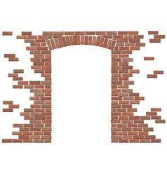 arch in brick wall vector image vector image