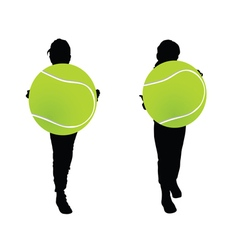 children with tennis ball silhouette vector image vector image