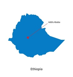 Detailed map of Ethiopia and capital city Addis vector image vector image