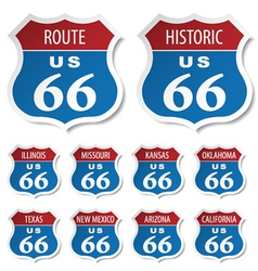 Route 66 colored stickers vector