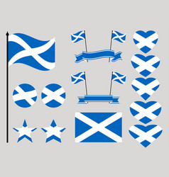 scotland flag set collection of symbols heart vector image