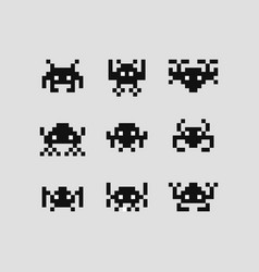 space invaders 8 bit set vector image