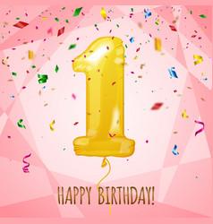 1 birthday greeting card golden balloon vector