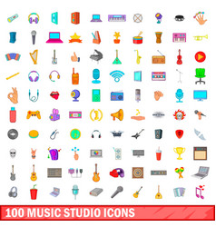 100 music studio icons set cartoon style vector