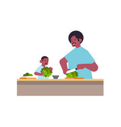 African american father and little son preparing vector