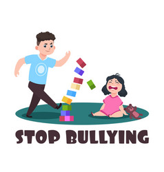 angry kids bad boy and crying little girl stop vector image