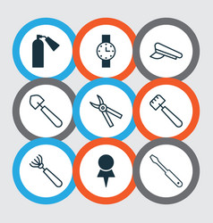 Apparatus icons set with shovel trowel vector