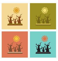 Assembly flat icons nature drought disaster vector