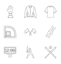 Baseball tournament icons set outline style vector