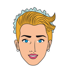 Beautiful bride face pop art vector