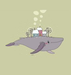 beautiful cartoon whale and winter landscape new vector image