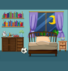 Bedroom scene with books and toys vector