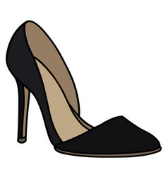 Black high heel shoe vector