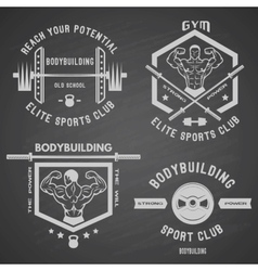Bodybuilding white label set vector image