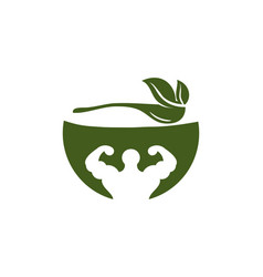 Bowl leaf spoon muscle healthy food logo designs vector