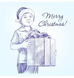 boy in Santa hat holding Christmas present hand vector image