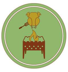 Brazier and chicken icon vector