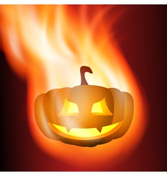 Burning pumpkin vector image