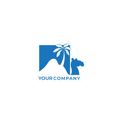 Camel desert with palm logo design and negative vector