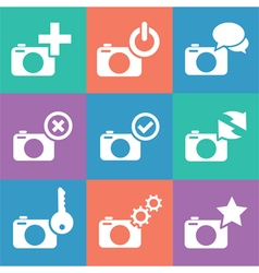 Camera web info icon set vector