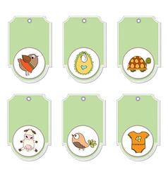 cartoon animals labels set vector image