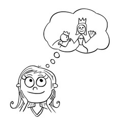 Cartoon of girl dreaming about live of princess vector
