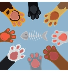 Cats paw set cartoon vector image