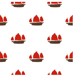 Chinese boat with red sails pattern seamless vector