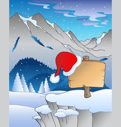 Christmas board in winter landscape vector