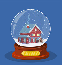 christmas snow globe with house inside vector image