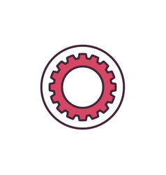 circle with red gear or cog concept icon vector image