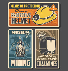 coal mining retro posters miners equipment vector image