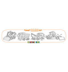 Construction and municipal cars coloring book vector