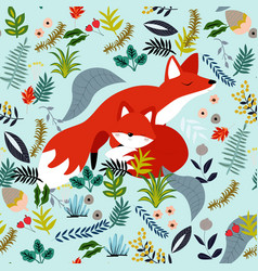 cute baby fox and mom in flower seamless pattern vector image