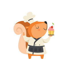 cute squirrel in chef uniform holding cupcake vector image