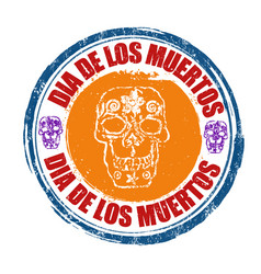 Day of the dead stamp vector