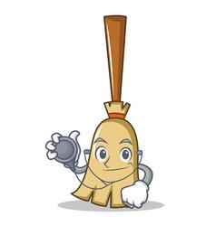 doctor broom character cartoon style vector image
