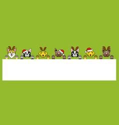 Dogs in christmas costume deer santa claus vector