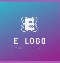 E initial space force logo design galaxy rocket vector