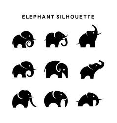 Elephant logo set symbol silhouette vector