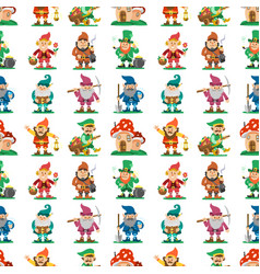 Fairy tale fantastic gnome seamless pattern vector