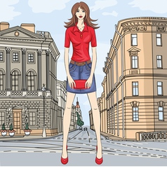 fashion girl in the street in St Petersburg vector image