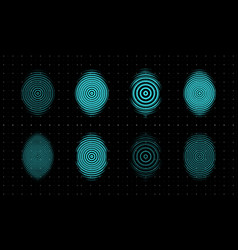 fingerprint icons set biometric security vector image