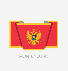 Flag of montenegro flat icon waving flag with vector