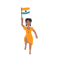 flat indian girl kid jumping holding national flag vector image