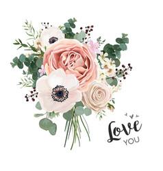 Flower bouquet floral bunch boho design object vector