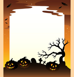 frame with halloween scenery 1 vector image